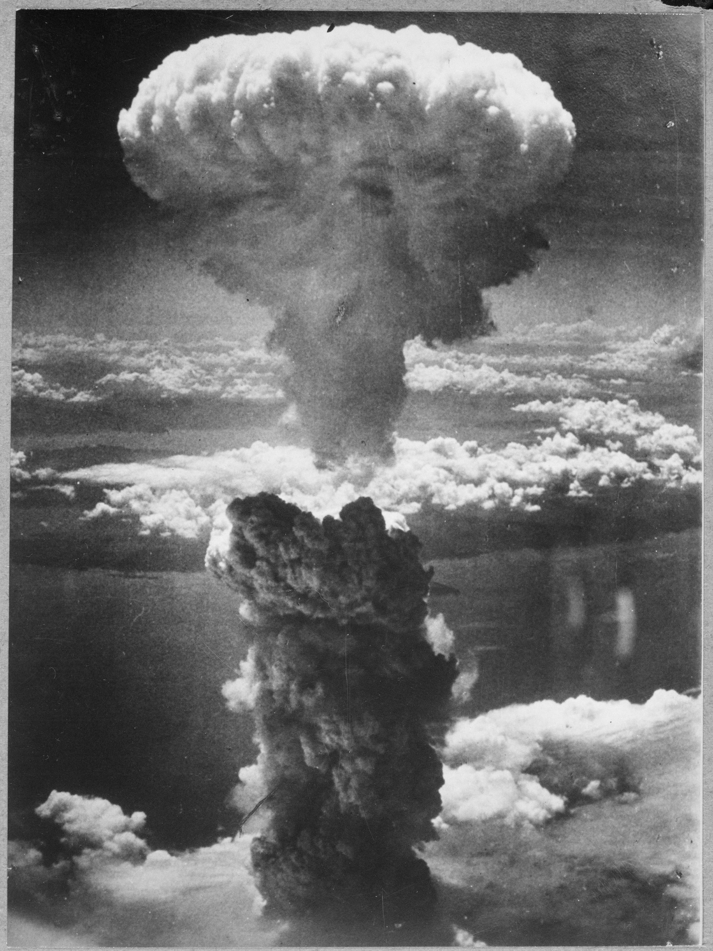 """Photograph of the Atomic Cloud Rising Over Nagasaki, Japan,"" August 9, 1945"