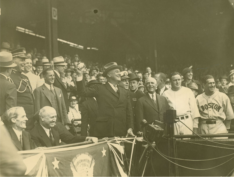 President Franklin D. Roosevelt Throwing a Baseball at Griffith Stadium, Washington, DC, 4/24/1934