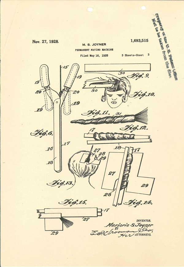 Submitted drawings for permanent wave machine, 1928, Sheet 3 of 3