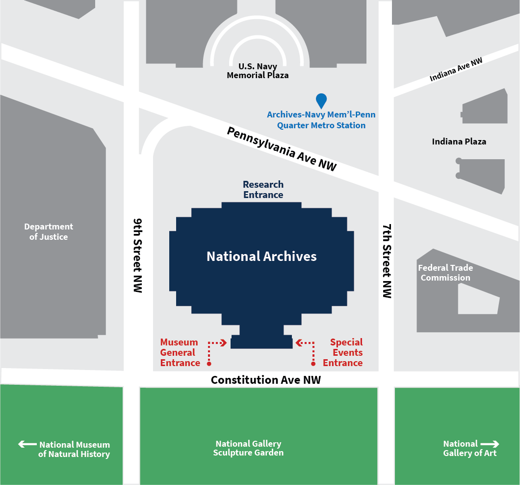 Map showing the location of National Archives Museum entrances