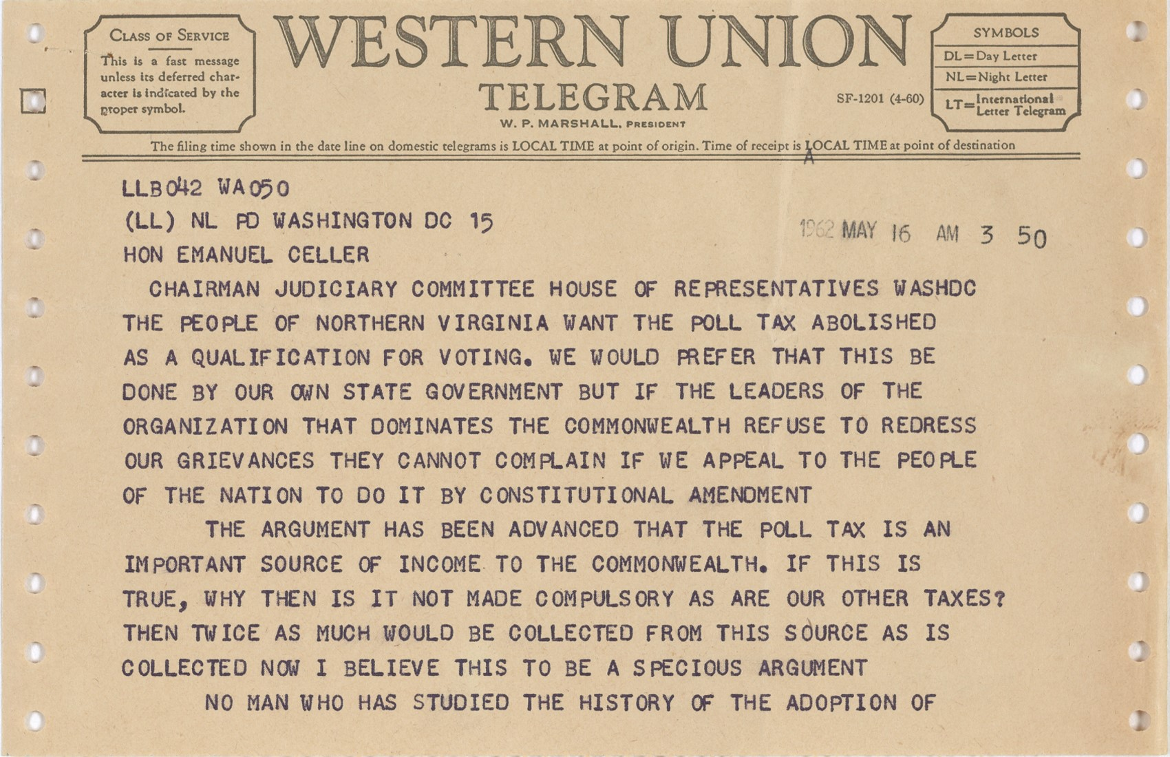 Telegram from Augustus C. Johnson in Favor of Abolition of the Poll Tax, page 1, 1962