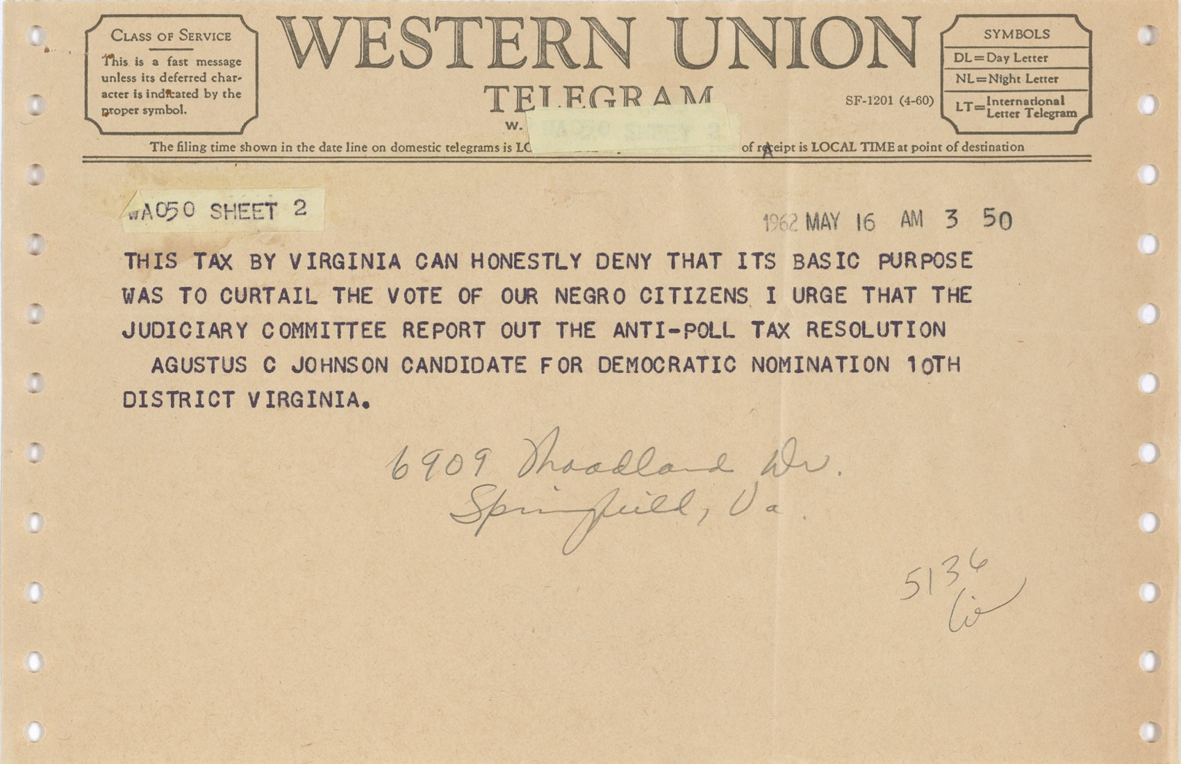 Telegram from Augustus C. Johnson in Favor of Abolition of the Poll Tax, page 2, 1962