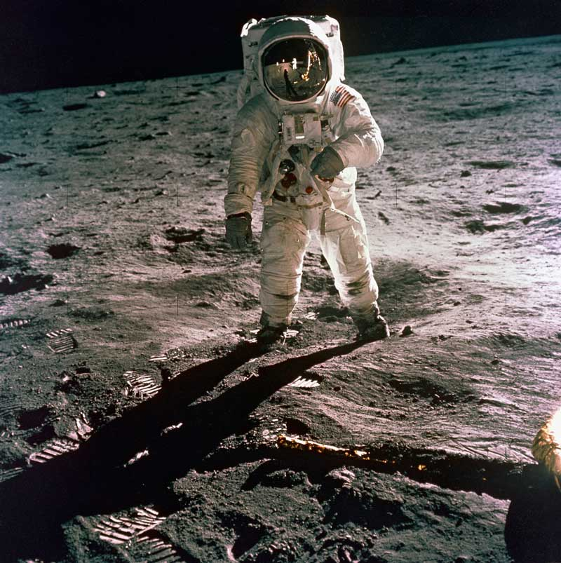 Apollo 11 Mission image - Astronaut Edwin Aldrin walks near the Lunar Module
