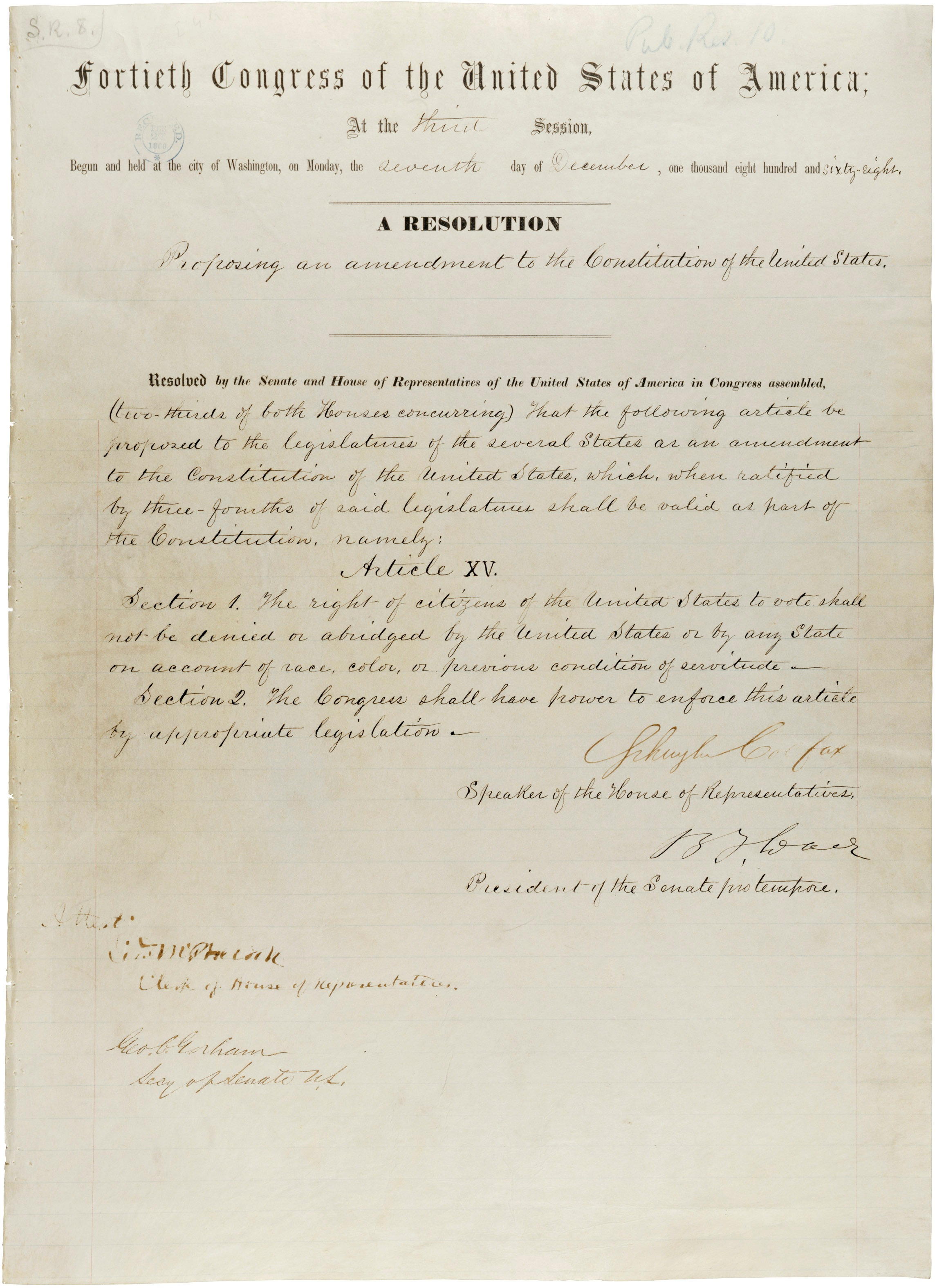 Joint resolution proposing the Fifteenth Amendment to the US Constitution