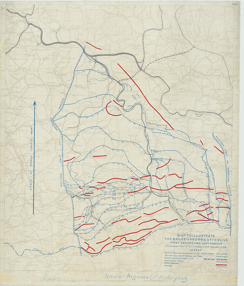 Map illustrating the Meuse-Argonne Offensive, November 20, 1918