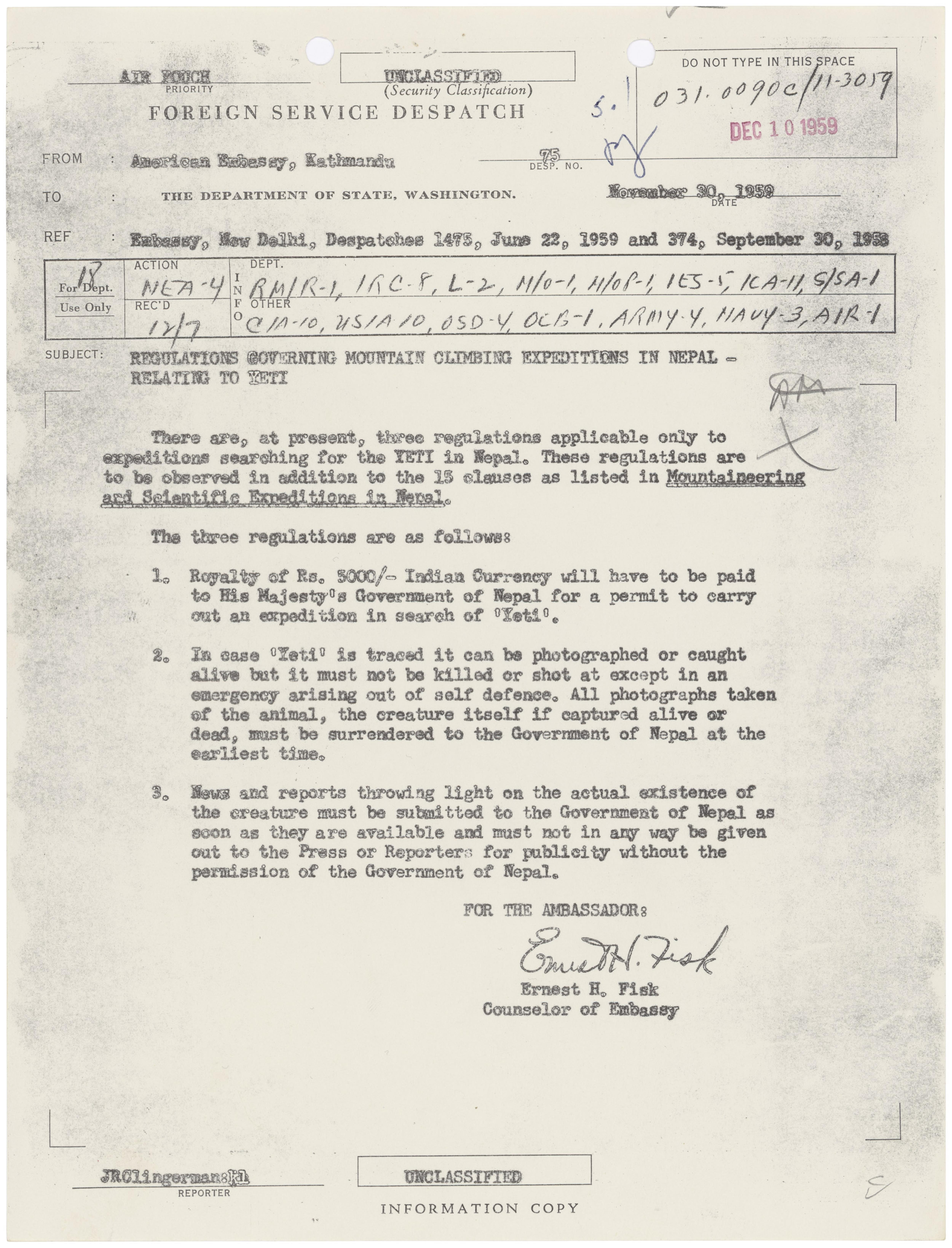 Regulations Governing Mountain Climbing Expeditions in Nepal-relating to Yeti, November 30, 1959