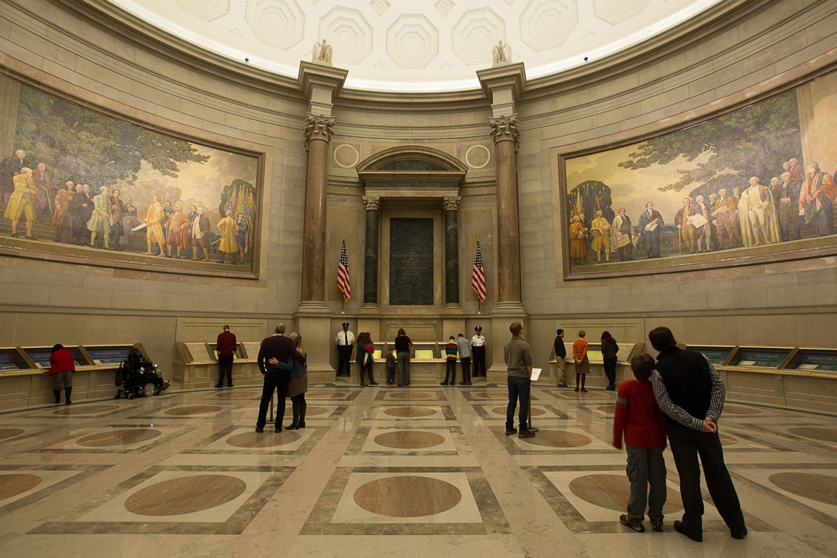 Photo of Visitors in the Rotunda for the Charters of Freedom