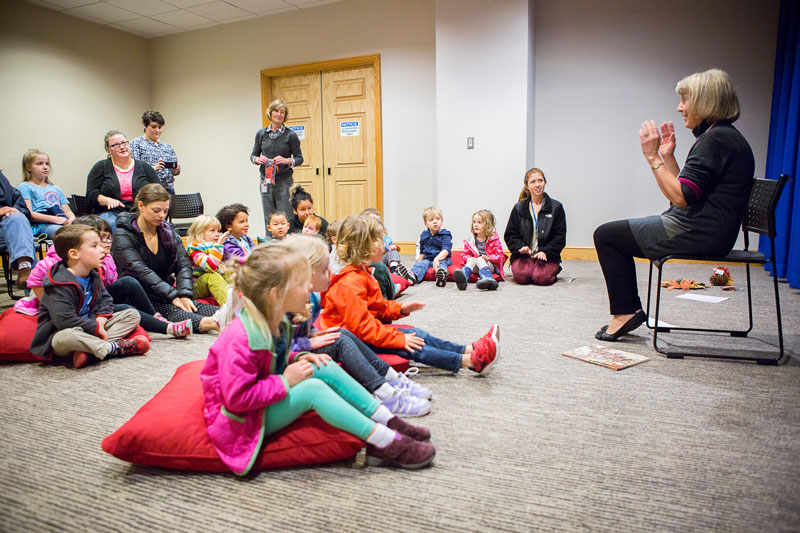 Young Museum visitors attend a Storytime presentation.