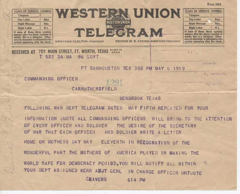 Mother's Day Telegram; May 6, 1919