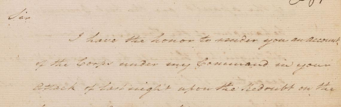 Copy of Alexander Hamilton's letter to Marquis de Lafayette describing his actions at the Battle of Yorktown, October 15, 1781