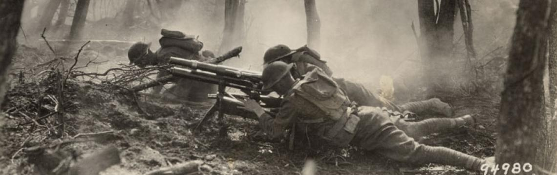 Gun crew from Regimental Headquarters Company, 23rd Infantry, firing 37mm gun during an advance against German entrenched positions., 1918