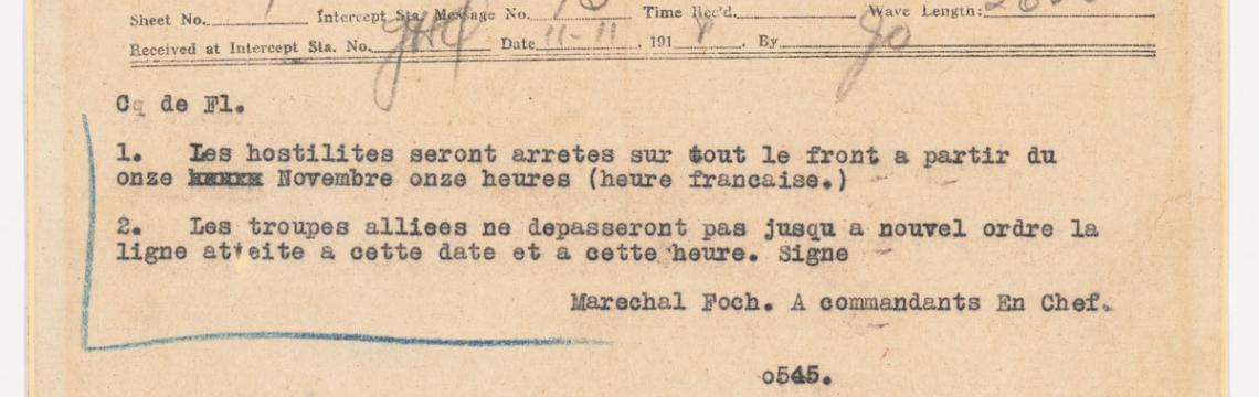Telegram announcing the ceasefire