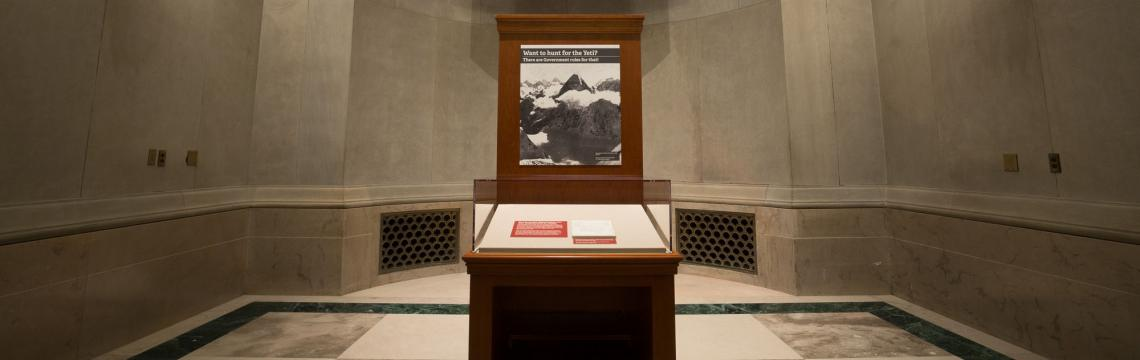 Featured document display, National Archives Rotunda, 2017