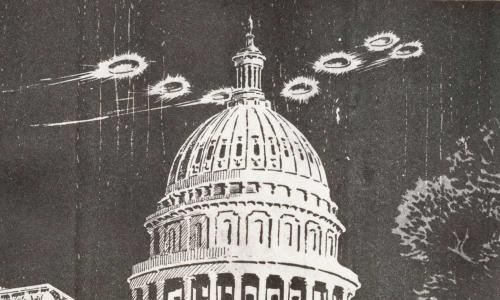 Comic strip showing flying saucers over Washington, DC
